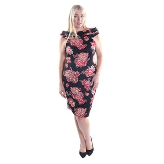 Hadari Women's Plus Size Flower Print Sleeveless Cowl Neckline Slimming Shift Dress