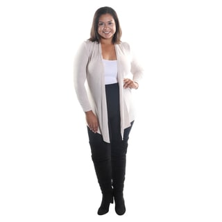 Hadari Women's Plus Size Open Front Long Sleeve Black Cardigan