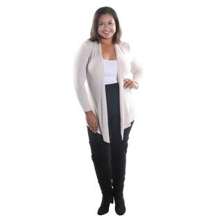 Hadari Women's Plus Size Open Front Long Sleeve Black Cardigan (3 options available)