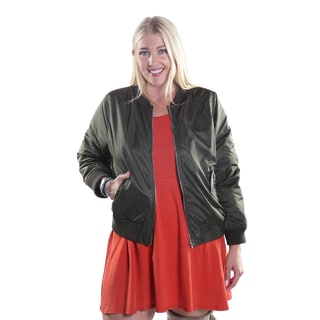 Hadari  Women's Plus Size Bomber Frontal Zip Jacket with 2 Side Pockets