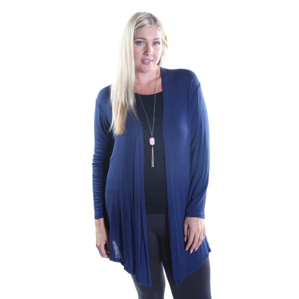 Hadari Women's Plus Size Long Sleeve Open Front Cardigan