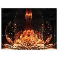 Bright Orange Glossy Fractal Flower - Large Floral Glossy Metal Wall Art