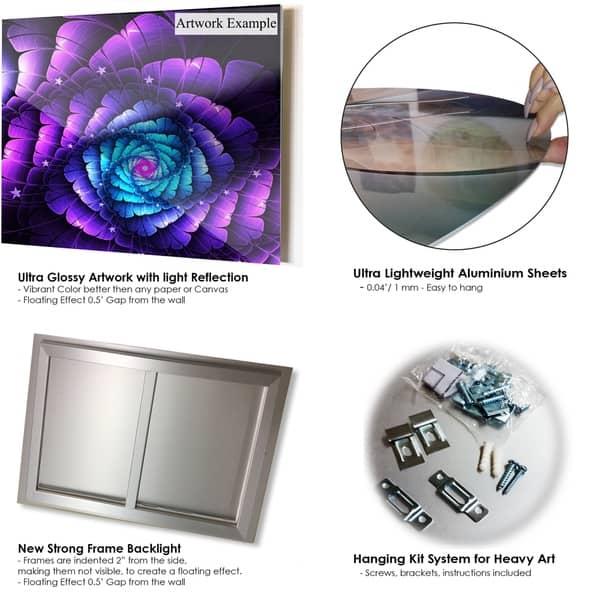 Purple Blue Fractal Flower Digital Art Large Floral Glossy Metal Wall Art Overstock 12788233