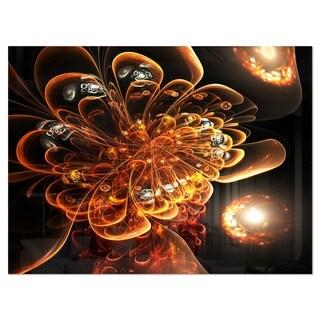 Dark Orange Fractal Flower Digital Art - Large Floral Glossy Metal Wall Art