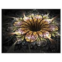Dark Golden Fractal Flower Digital Art - Large Floral Glossy Metal Wall Art