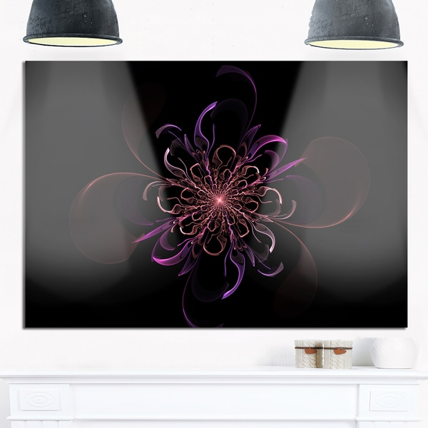 Pink Rounded Fractal Flower in Black - Large Floral Glossy Metal Wall Art