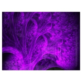 Bright Purple Magical Fractal Forest - Abstract Glossy Metal Wall Art