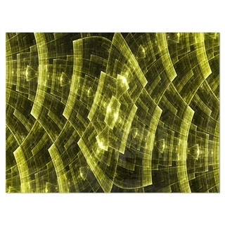 Bright Yellow Fractal Flower Grid - Abstract Glossy Metal Wall Art