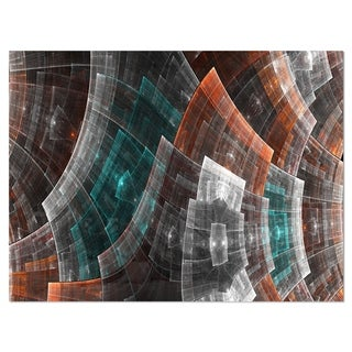 Brown and Blue Fractal Flower Grid - Abstract Glossy Metal Wall Art
