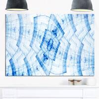 Blue Fractal Flower Pattern Grid - Abstract Glossy Metal Wall Art