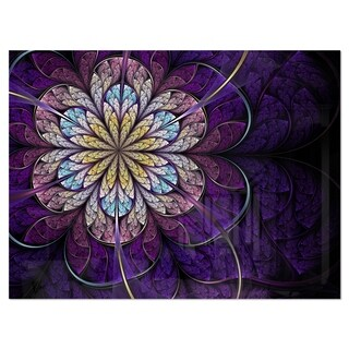 Blue and Pink Large Fractal Flower - Modern Floral Glossy Metal Wall Art