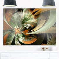 Symmetrical Orange Green Fractal Flower - Modern Floral Glossy Metal Wall Art