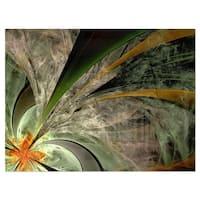Symmetrical Fractal Flower in Green - Modern Floral Glossy Metal Wall Art