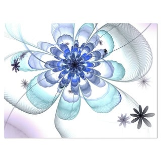 Light Blue Large Fractal Flower - Modern Floral Glossy Metal Wall Art