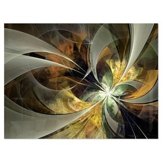 Symmetrical Gold Fractal Flower - Modern Floral Glossy Metal Wall Art