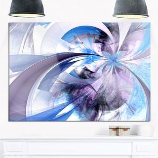 Purple and Blue Symmetrical Fractal Flower - Modern Floral Glossy Metal Wall Art