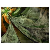 Green and Yellow Glossy Fractal Flower - Modern Floral Glossy Metal Wall Art
