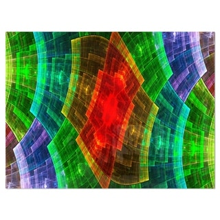 Colorful Psychedelic Fractal Metal Grid - Abstract Glossy Metal Wall Art