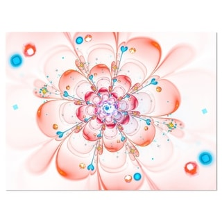 Pink Fractal Flower Petals Close-up - Floral Glossy Metal Wall Art