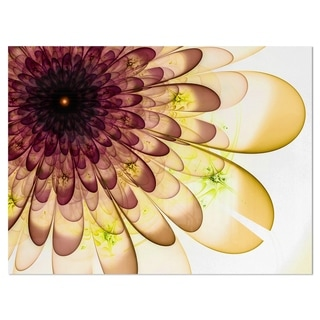 Brown Yellow Typical Flower Fractal - Floral Glossy Metal Wall Art