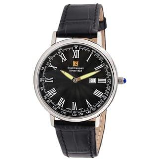 Steinhausen Classic Men's S0121 Altdorf Swiss Quartz Stainless Steel Black Leather Band Watch|https://ak1.ostkcdn.com/images/products/12788706/P19560784.jpg?impolicy=medium