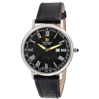 Steinhausen Classic Men's S0121 Altdorf Swiss Quartz Stainless Steel Black Leather Band Watch