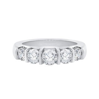 14K White Gold 1 1/2ct TDW Diamond 5-Stone Wedding Band