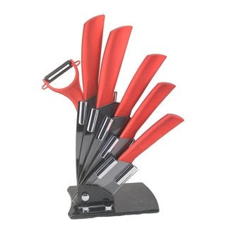 Melange Red Handle/Black Blade Ceramic/Metal 7-piece Knife Set With 5-inch Slicer and Peeler