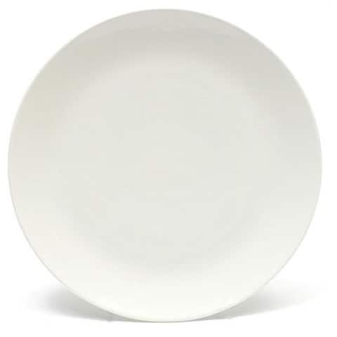 Melange Home Coupe Whte Porcelain Dinner Plate Set (24 Pieces)