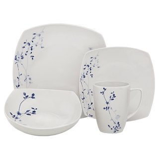 Melange Garden Square Indigo Porcelain 32-Piece Place Setting