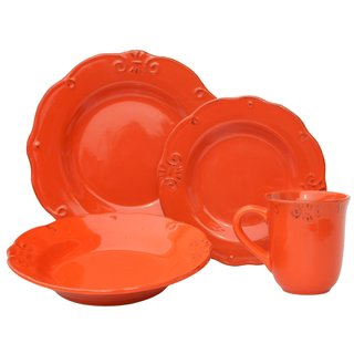 Melange Antique Edge Paprika Stoneware 32-Piece Dinner Set