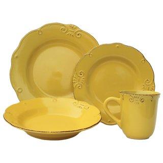 melange antique edge sunflower stoneware dinner set 32piece place setting