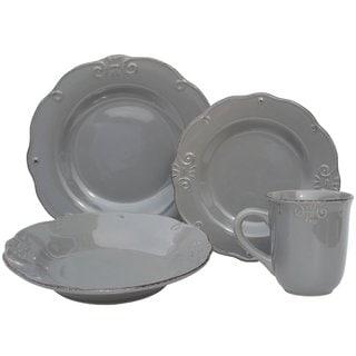 Melange Antique Edge Grey Porcelain 32-piece Stoneware Dinner Set