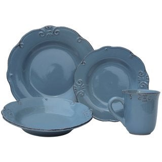 Melange Antique Edge Aqua Stoneware Dinner Set 32-piece Place Setting, Serving for 8