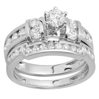 Elora 14k Gold 1 3/4ct TDW Round Diamond Bridal Engagement Ring Matching Wedding Band Set (H-I, I1-I2)