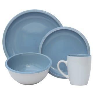 Melange Contempo Cantina 2-tone Aqua Stoneware Dinner Set 32-piece Place Setting, Serving for 8