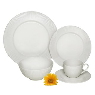 Melange Cascades Ivory Porcelain 40-piece Premium Dinnerware Place Setting