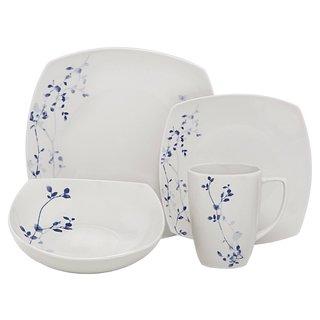 Melange Indigo Garden Square White Porcelain 16-piece Place Setting