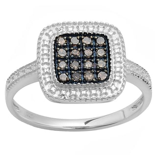 Sterling Silver Round Champagne Diamond Women's Cocktail Ring