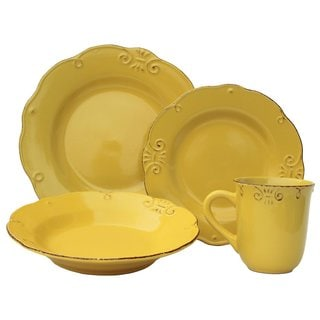 Melange Home Antique Edge Sunflower Stoneware 16-piece 4-place Setting Dinnerware Set