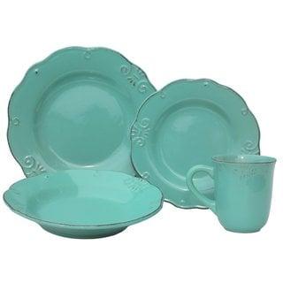 Melange Home Antique Edge Mint Porcelain 16-piece Stoneware Dinner Set