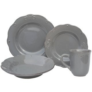 Melange Home Antique Edge Grey Porcelain 16-piece Stoneware Dinner Set