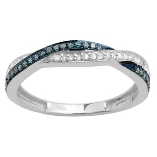 Elora 10k Gold 1/4ct TDW Round Blue and White Diamond Anniversary Wedding Band Swirl Matching Ring (I-J, I