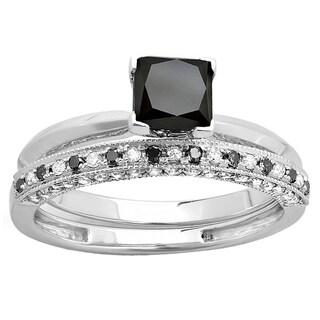 Elora 10k Gold 2ct TDW Princess-cut Black and Round White Diamond Bridal Solitaire Engagement Ring Set (H-