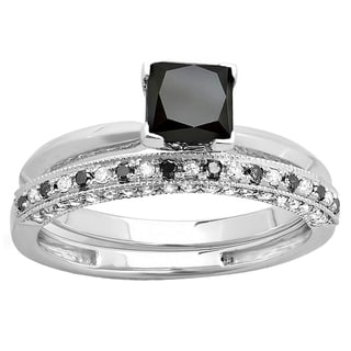Elora 14k Gold 2ct TDW Princess-cut Black and Round White Diamond Bridal Solitaire Engagement Ring Set (H-