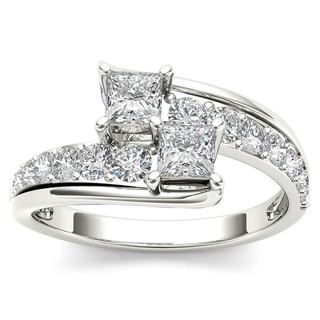 De Couer 14k White Gold 1ct TDW Two-Stone Diamond Engagement Ring