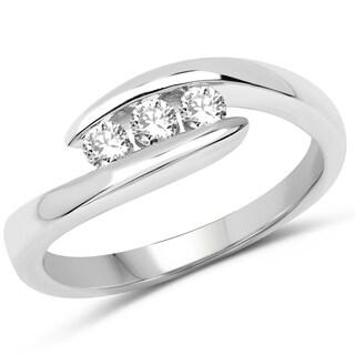 Olivia Leone 14K White Gold Genuine White Diamond Ring(0.24 cttw, G-H Color, SI1-SI2 Clarity)