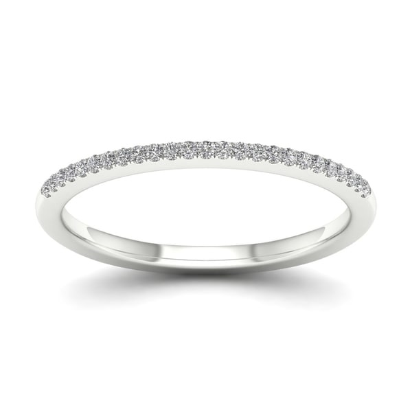 De Couer 10k White Gold 1/10ct TDW Wedding Band - White H-I