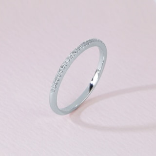 De Couer 10k White Gold 1/10ct TDW Wedding Band