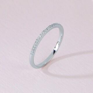 De Couer 10k White Gold 1/10ct TDW Wedding Band - White H-I
